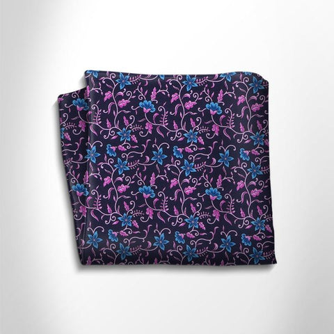 Blue and fuchsia floral patterned silk pocket square