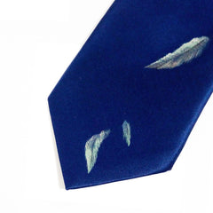 Hand painted blue silk sartorial necktie, hummingbird decoration 18006-14 Dip6