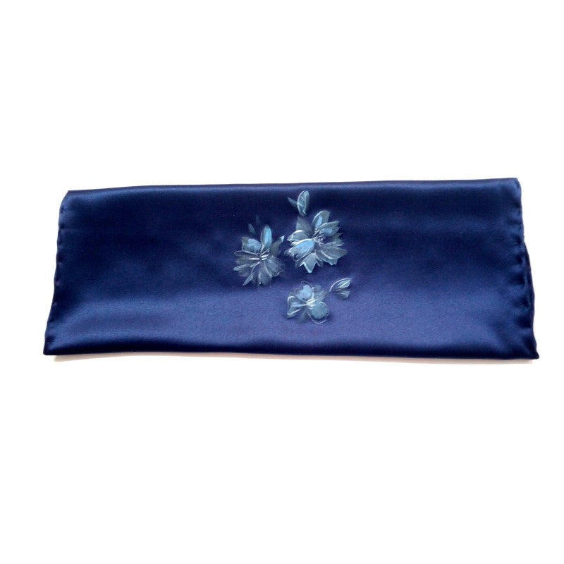 Hand painted blue silk sartorial pocket square, flowers decoration 18006-14 Dip8