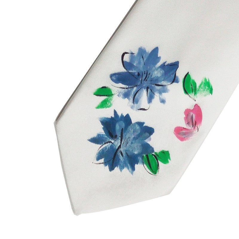 Hand painted white silk sartorial necktie, flowers decoration 18007-01 Dip7