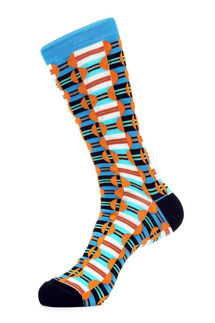 Turquoise Orange Mercerized Socks for Men JL-7002-1