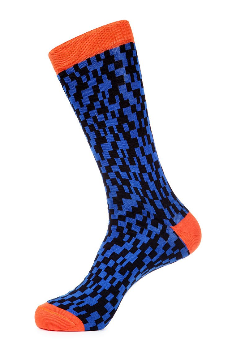 Blue Orange Mercerized Socks for Men JL-7010-1