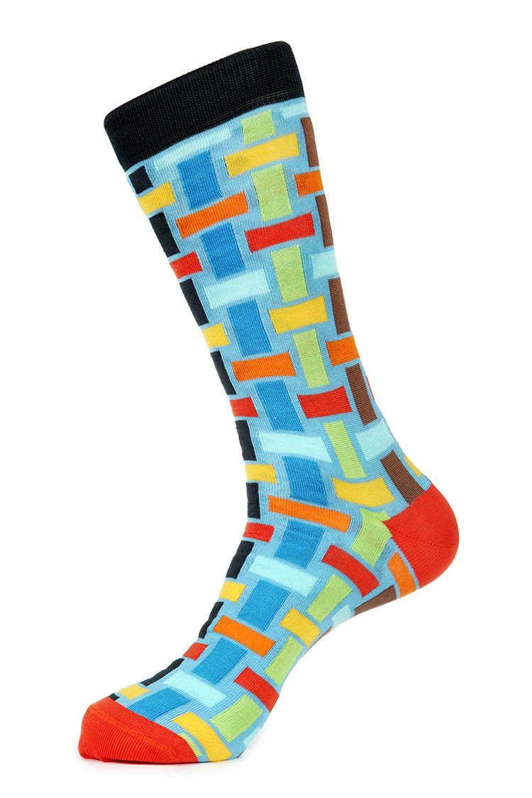 Blue Red Green Mercerized Socks for Men JL-7012-2