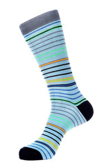 Blue Mercerized Socks for Men JL-7026-4