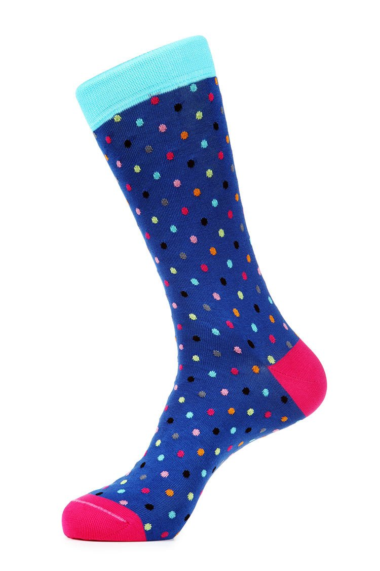 Blue Polka Dot Mercerized Socks for Men JL-7035-1