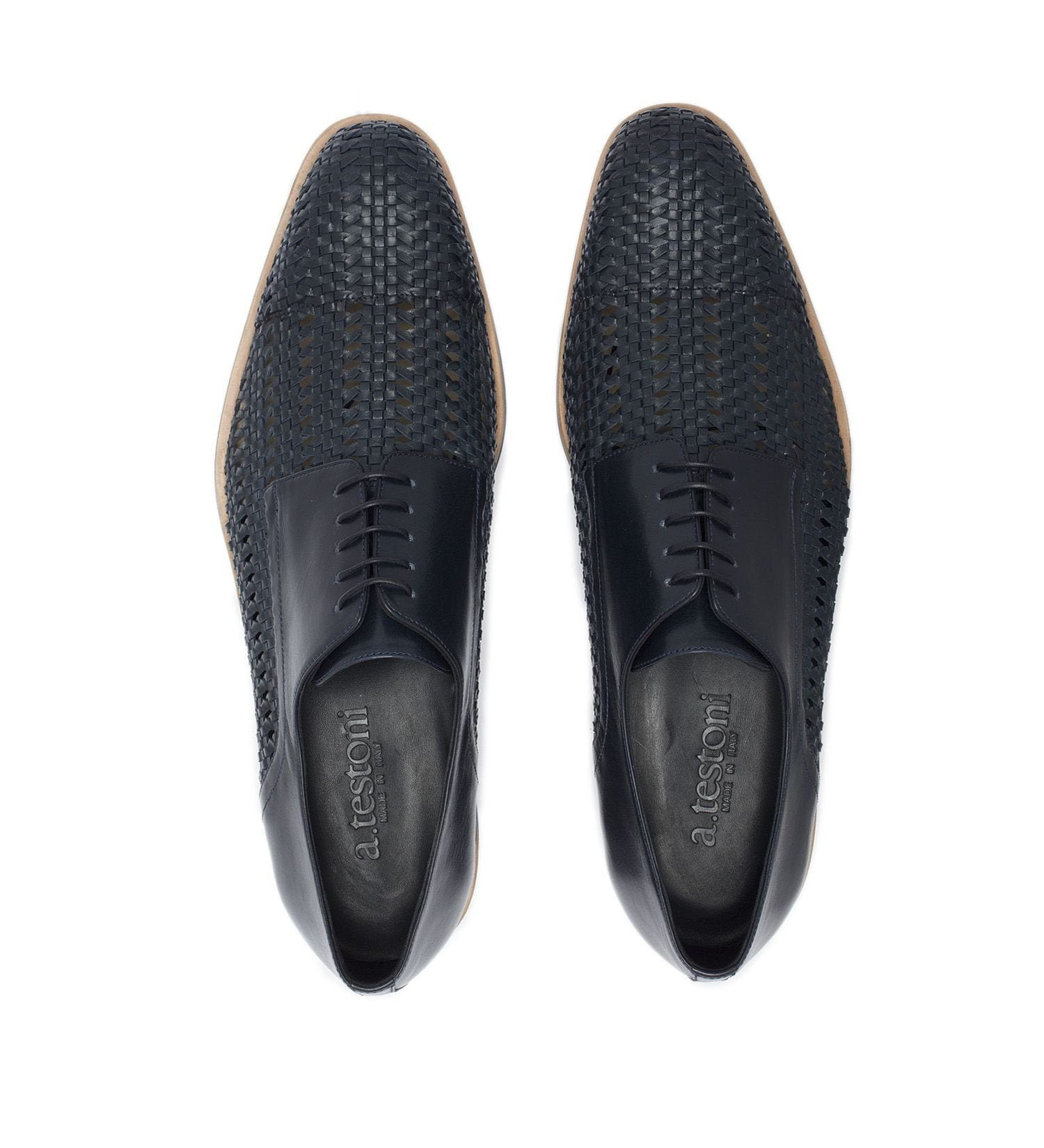 LACE-UP IN PERFORATED LEATHER,SHOES,A.TESTONI, | GentRow.com