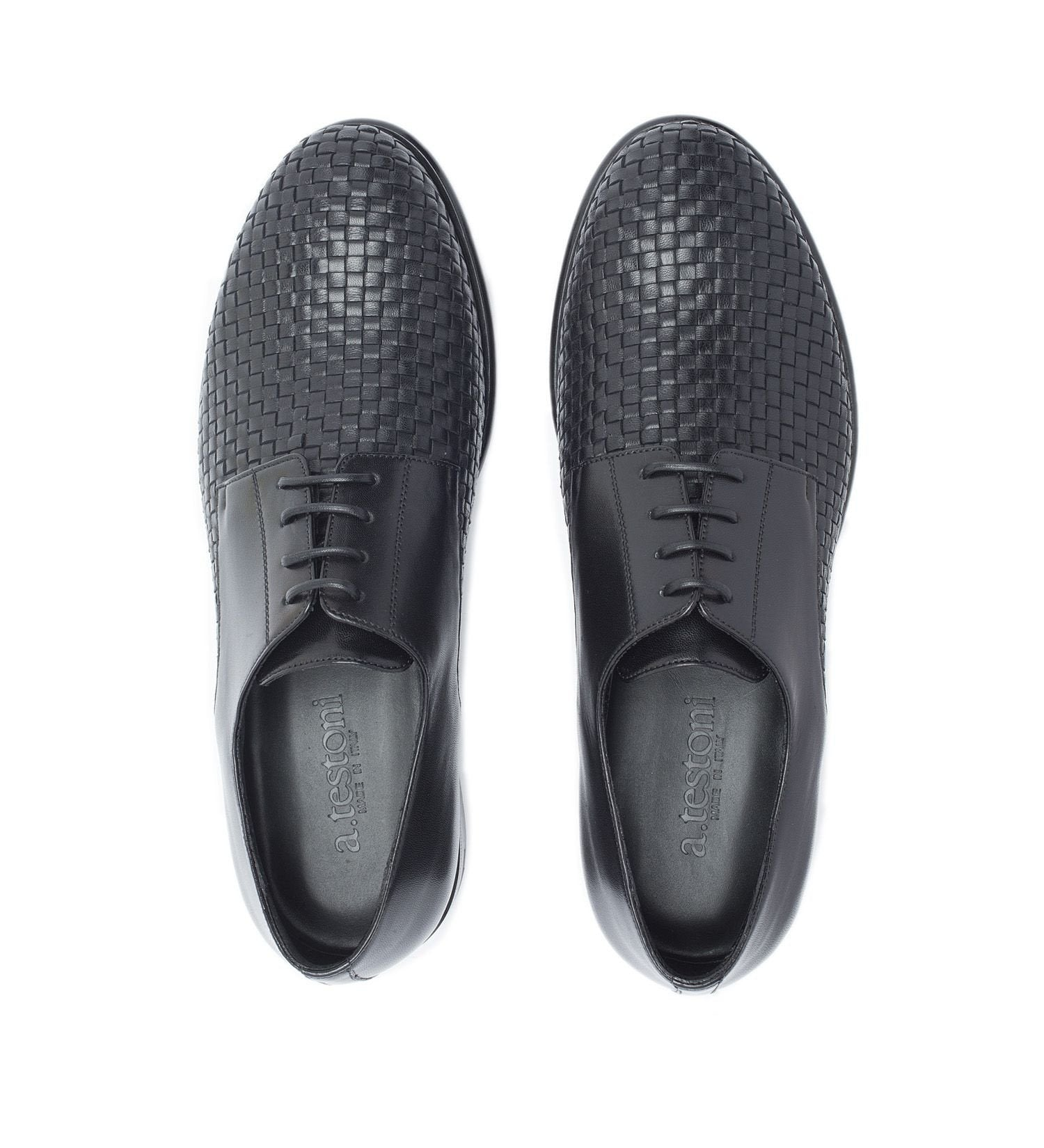 LACE-UP IN WOVEN NAPPA,SHOES,A.TESTONI, | GentRow.com
