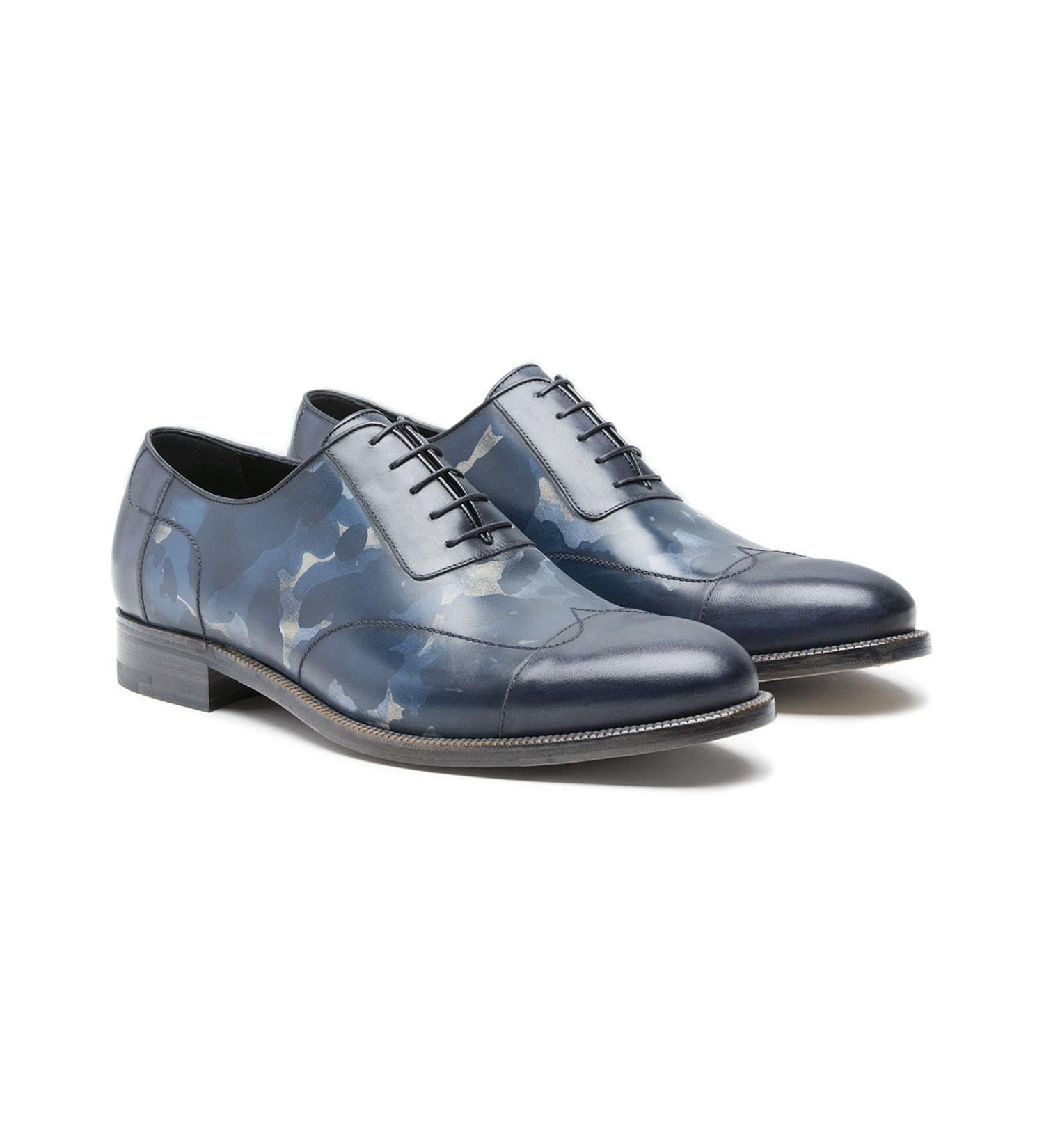 CAMOUFLAGE LACE-UP CAP-TOE,SHOES,A.TESTONI, | GentRow.com