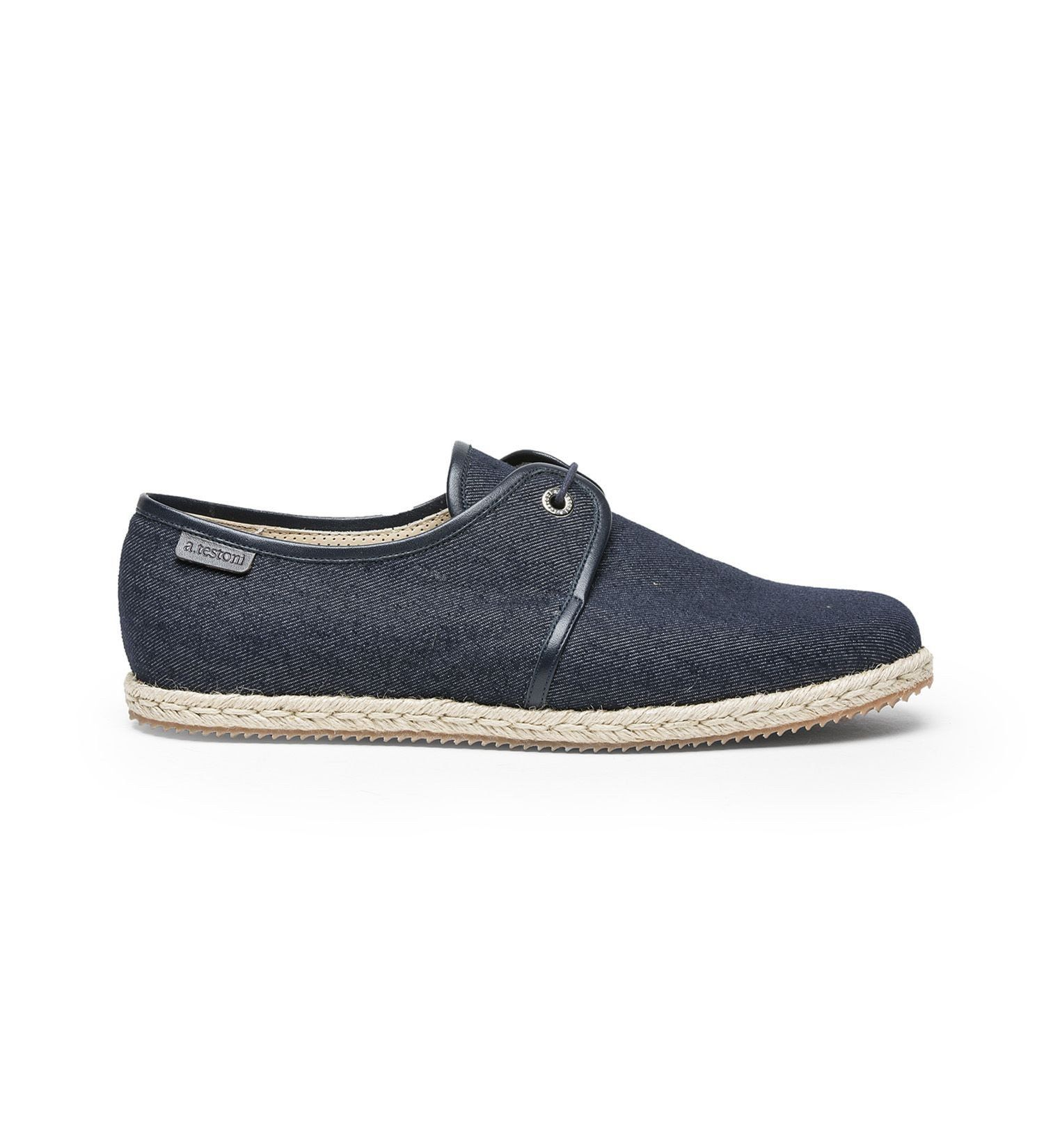 LACE-UP DENIM SHOE.,SHOES,A.TESTONI, | GentRow.com