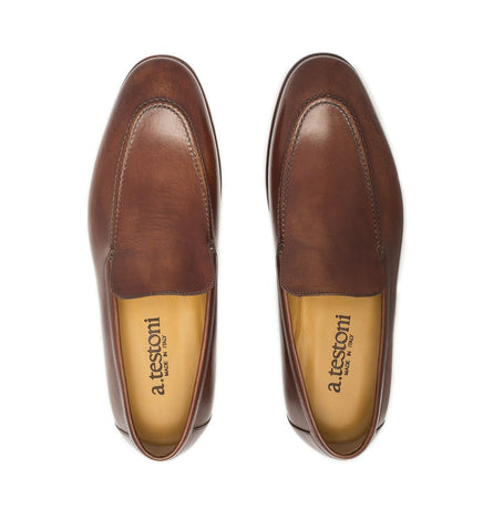 ANTIQUED LEATHER SLIP-ON