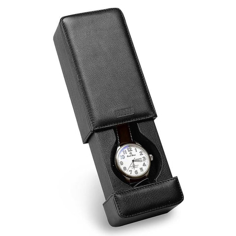 Milano Black Italian Leather Watch Travel Case