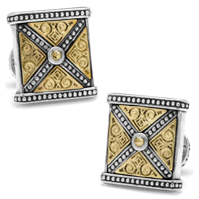 Sterling Silver & Bronze Ornate X-Detail Square Cufflinks,CUFFLINKS,GentRow.com, | GentRow.com