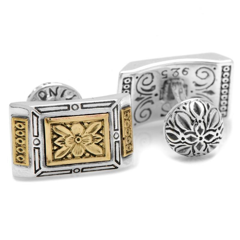 Sterling Silver & Bronze Ornate Rectangle Cufflinks,CUFFLINKS,GentRow.com, | GentRow.com