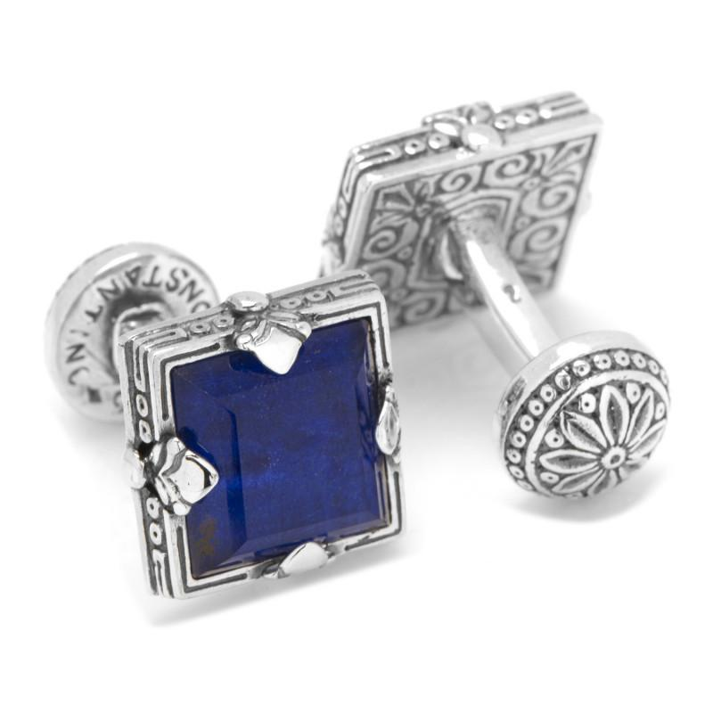 Sterling Silver and Lapis Faceted Square Cufflinks,CUFFLINKS,Gent Row, | GentRow.com