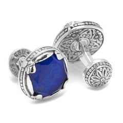 Sterling Silver and Lapis Faceted Doublet Round Cufflinks,CUFFLINKS,GentRow.com, | GentRow.com