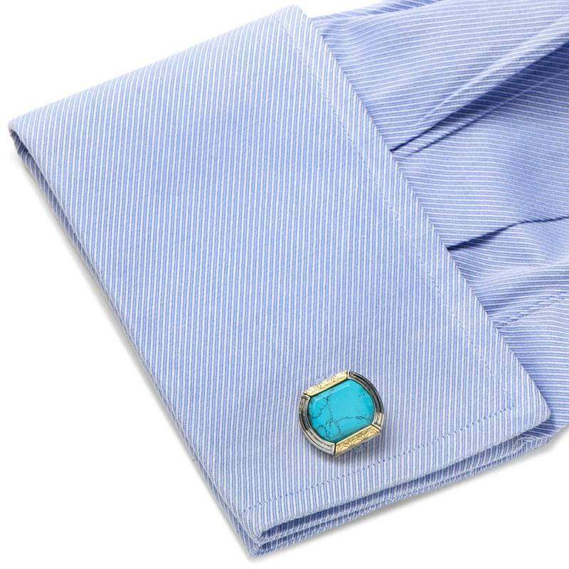 Sterling Silver & 18k Gold Cufflinks with Turquoise,CUFFLINKS,GentRow.com, | GentRow.com