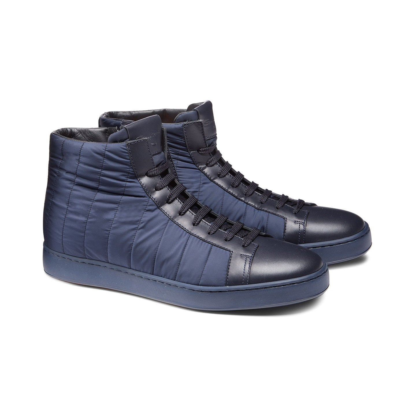 HIGH-TOP SNEAKER IN FABRIC AND LEATHER