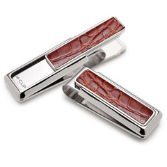 Rhodium with Cognac Alligator Money Clip By M-CLIP,MONEY CLIP,M-CLIP, | GentRow.com