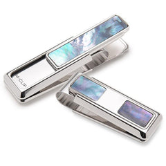 Rhodium with Blue and Grey Mother of Pearl Money Clip By M-CLIP,MONEY CLIP,M-CLIP, | GentRow.com