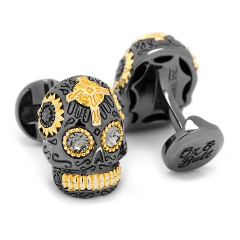 Black and Gold Vermeil Day of the Dead Skull Cufflinks,CUFFLINKS,GentRow.com, | GentRow.com
