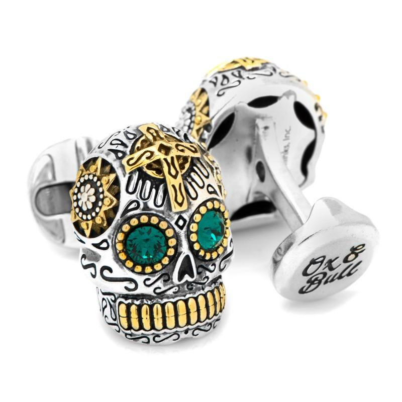 Sterling Silver and Gold Day of the Dead Skull Cufflinks,CUFFLINKS,GentRow.com, | GentRow.com
