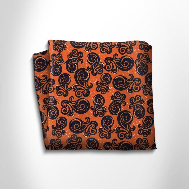 Orange and black patterned silk pocket square,POCKET SQUARE,Gent Row, | GentRow.com