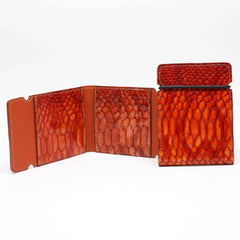 Embossed Python Calfskin Cash Cover - Orange,WALLETS,GentRow.com, | GentRow.com