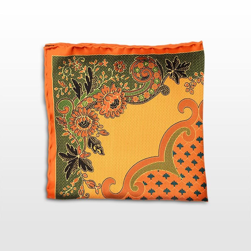 Pocket square with a orange and green pattern Fall-Winter 16/17,POCKET SQUARE,Gent Row, | GentRow.com