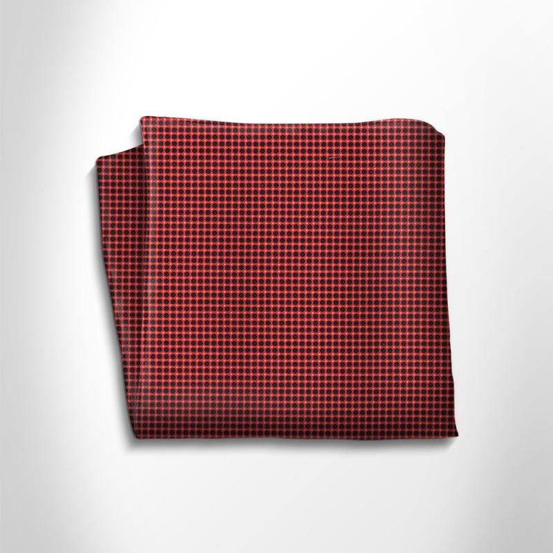 Red and black polka dot silk pocket square,POCKET SQUARE,Gent Row, | GentRow.com