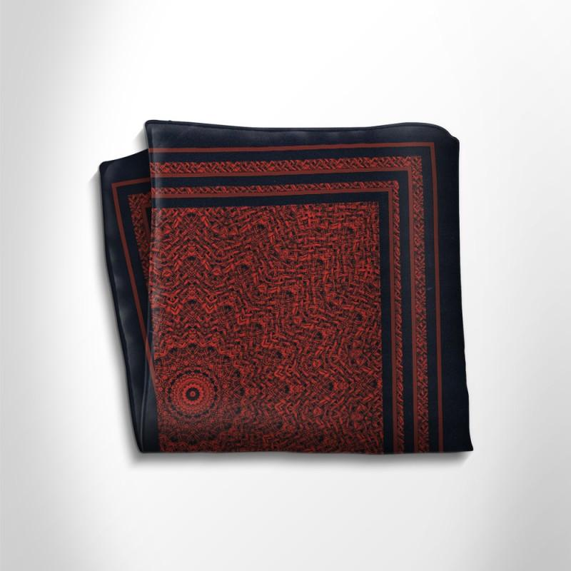 Red and black patterned silk pocket square,POCKET SQUARE,Gent Row, | GentRow.com