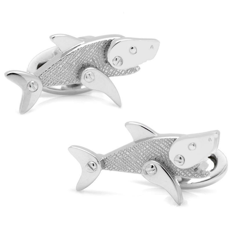 Moving Rivet Shark Cufflinks,CUFFLINKS,GentRow.com, | GentRow.com