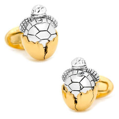 Hatching Turtle with 24K Yellow Gold Plated Egg Cufflinks,CUFFLINKS,GentRow.com, | GentRow.com