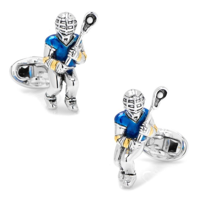 Moving Lacrosse Player Cufflinks,CUFFLINKS,GentRow.com, | GentRow.com