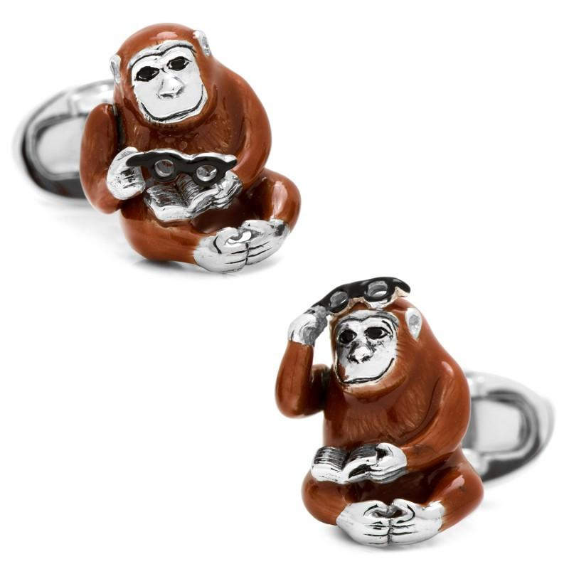 Monkey with Reading Glasses and Book Cufflinks,CUFFLINKS,GentRow.com, | GentRow.com
