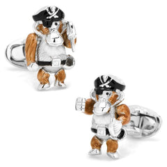 Moving Monkey Pirate with Hat and Sword Cufflinks,CUFFLINKS,GentRow.com, | GentRow.com