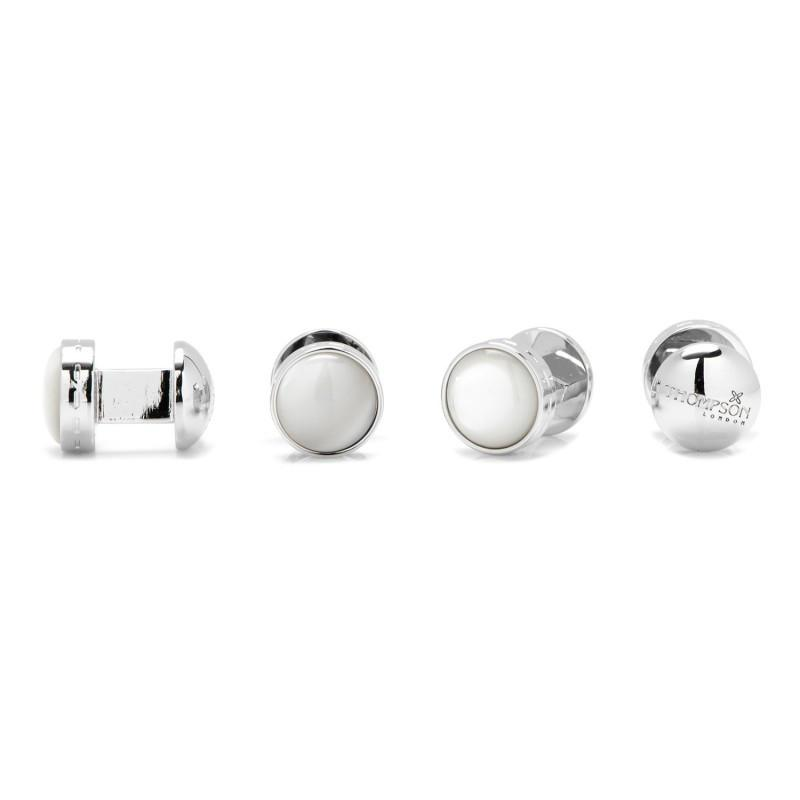 White Mother of Pearl Double Ended Stud Set,Stud Sets,GentRow.com, | GentRow.com