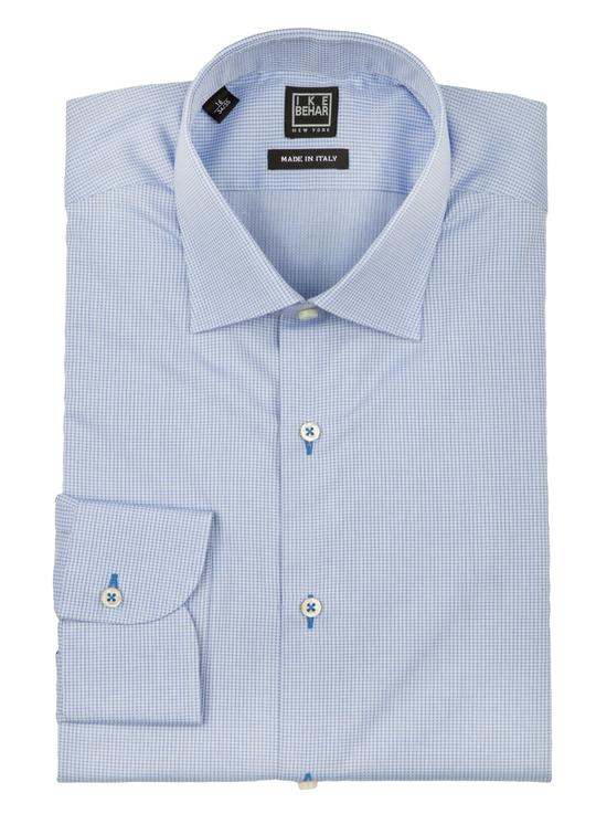 Blue Textured Dress Shirt