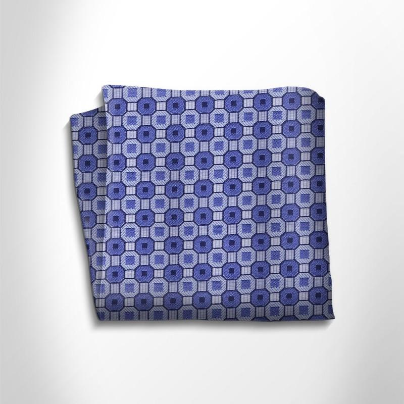 Sky blue and blue patterned silk pocket square,POCKET SQUARE,Gent Row, | GentRow.com