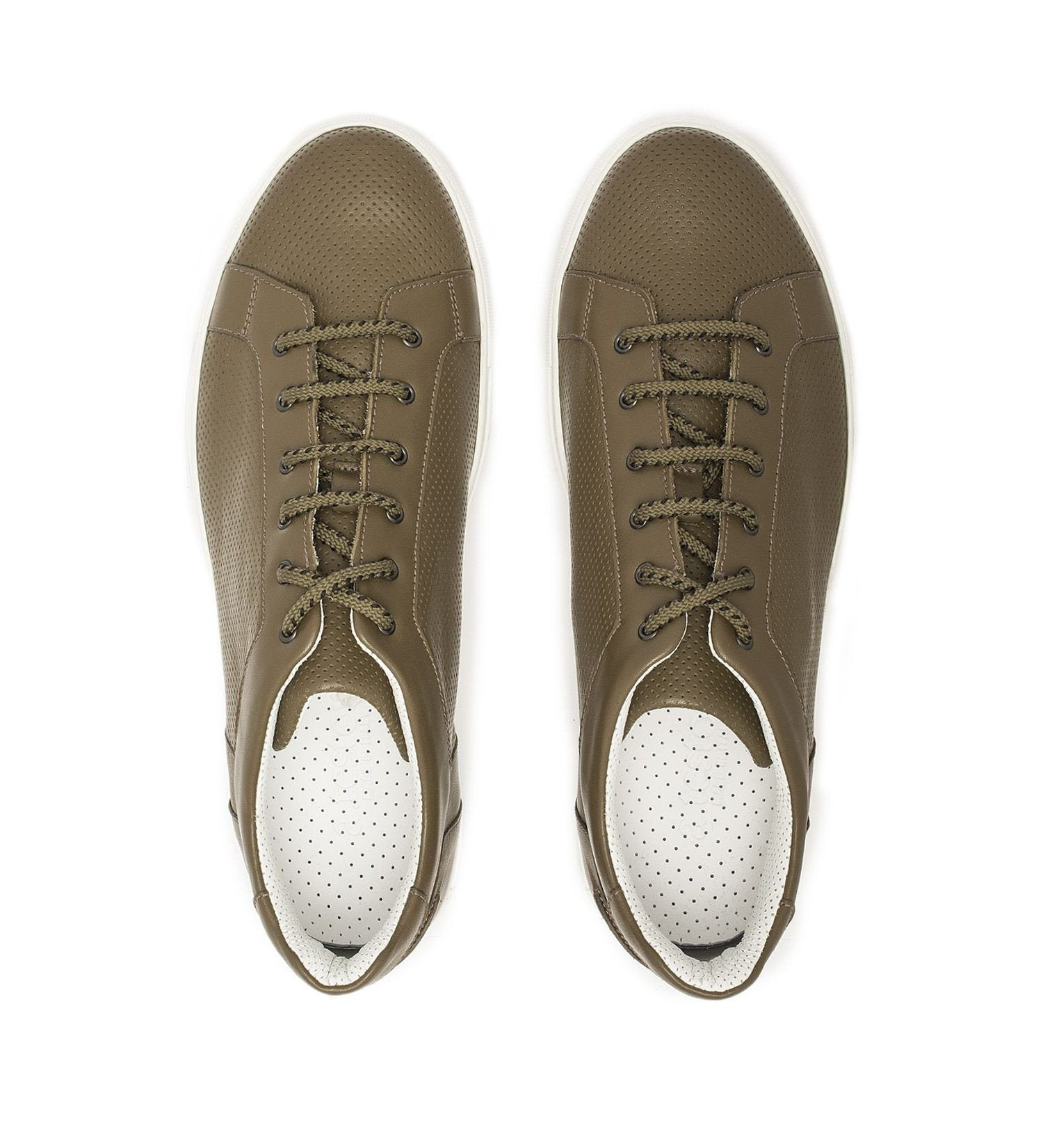 MILITARY GREEN LEATHER SNEAKER,SHOES,A.TESTONI, | GentRow.com