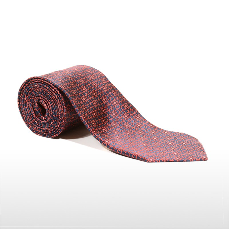 Tailored blue and red silk tie 416622-01