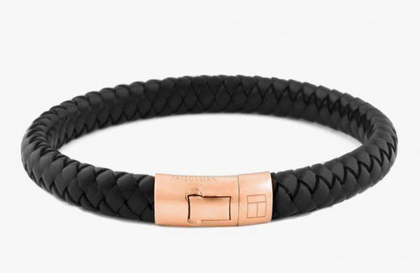 18K Rose Gold Cobra Bracelet in Black