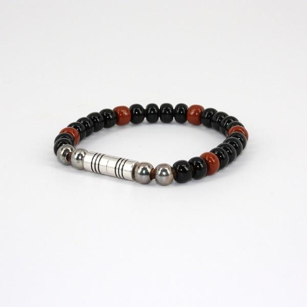Czech Glass Beads on Leather Bracelet - Black w/Brown,BRACELET,Gent Row, | GentRow.com