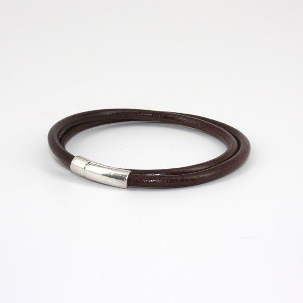 "Leather Tube "" Orbit"" Double Wrap Bracelet - Brown,BRACELET,Gent Row, 