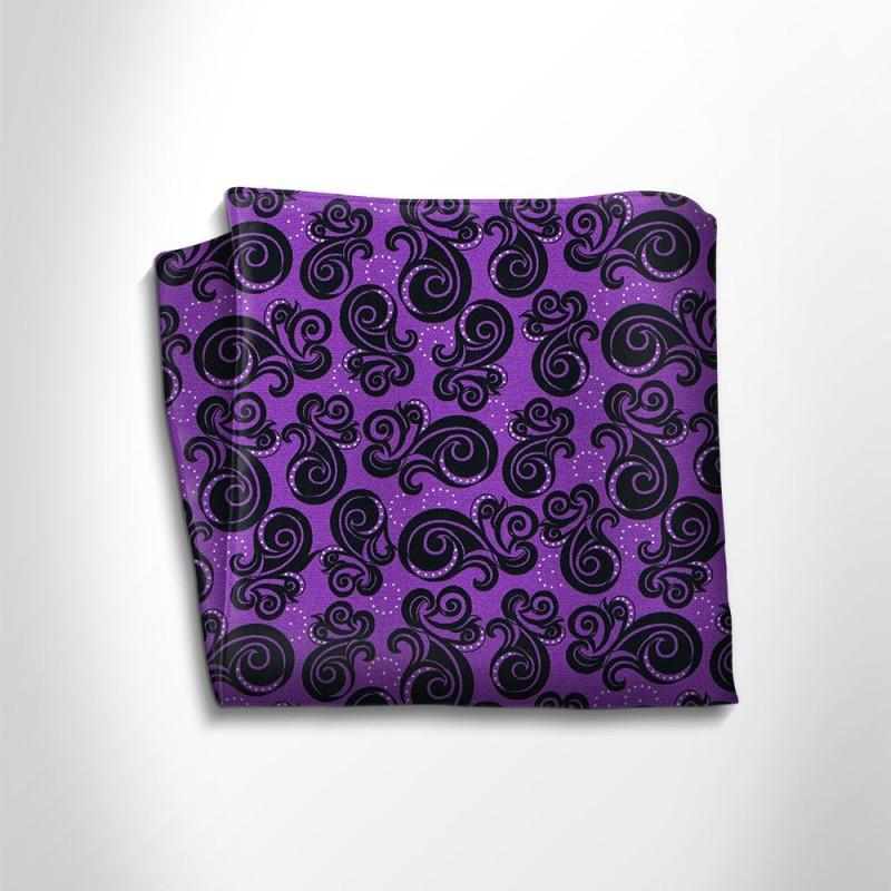 Violet and black patterned silk pocket square,POCKET SQUARE,Gent Row, | GentRow.com