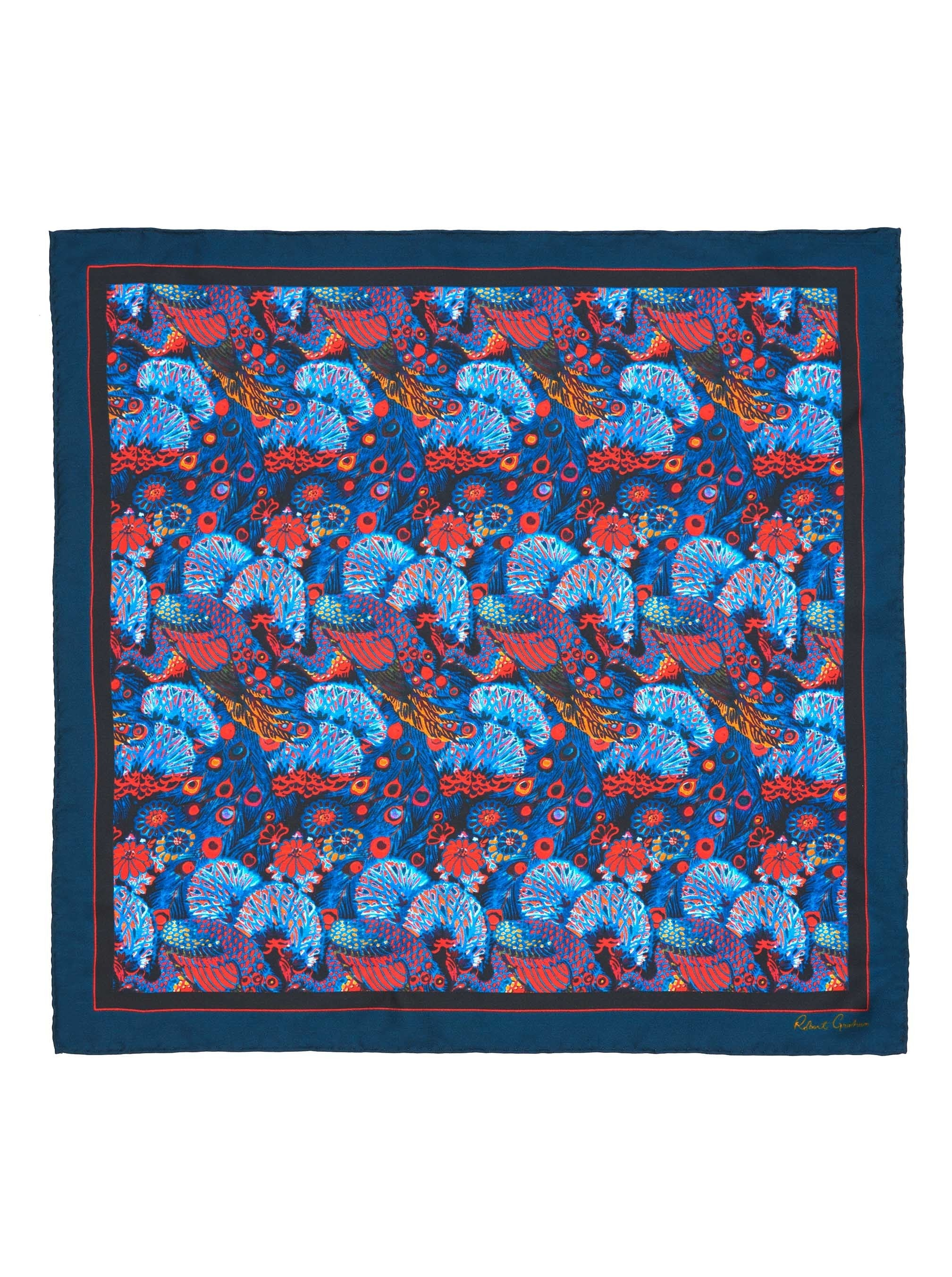 PEACOCK PARTY SILK POCKET SQUARE