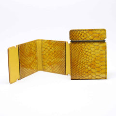 Embossed Python Calfskin Cash Cover - Yellow,WALLETS,GentRow.com, | GentRow.com