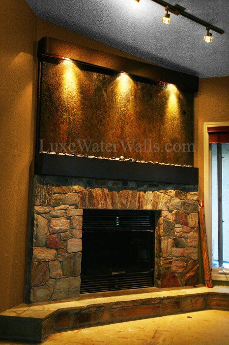 indoor waterfall above Fireplace