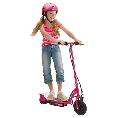 Razor E100 PINK Electric Scooter Speed up to 16km/h with Chain-driven Motor - Bikes & Ride-Ons - A&B Mart Australia