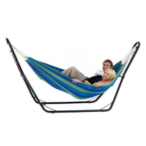 Double Swinging Hammock & Steel Frame Stand Combo Cotton Fabric Camping Outdoor - Garden Furniture - ANB Mart