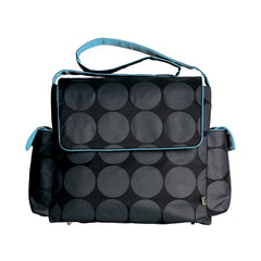 Oioi Nappy Bag Grey Dot Messenger Turq Lining | Buy Nursery Products Online With the Best Deals at Anbmart.com.au!